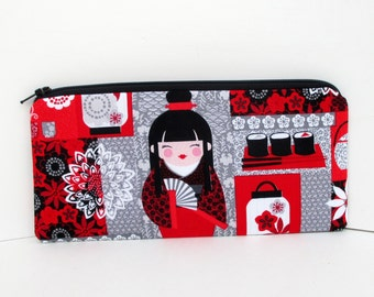 Zippered Pencil Pouch, Harajuku Girls with Sushi, Japanese Tokidoki Geisha Dolls, Red and Gray