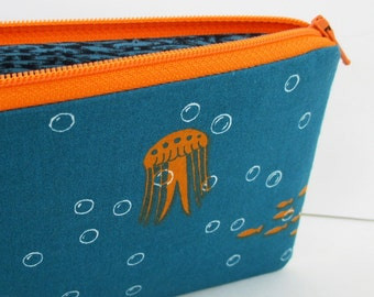 Zippered Pencil Pouch Long, Sea Bubbles, Jellyfish, Octopus, Teal and Orange, Organic Cotton Bag