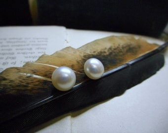 First Kiss. Genuine Creamy white Freshwater Pearl & Sterling Silver Post Earrings