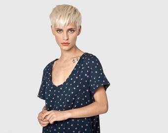 Dark blue Omega dress - short sleeve dress- frill knee length dress- loose tunic- cotton dress- loose top - sexy dress- oversize dress