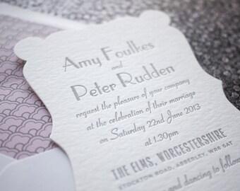 Astaire Art Deco Letterpress Wedding Invitation Suite