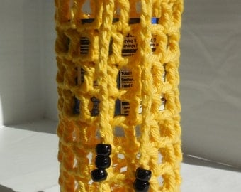 Yellow Crochet Water Bottle Holder or Cozy / Water Bottle Cozy