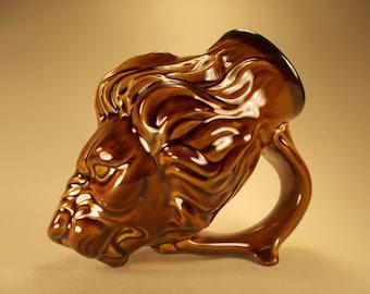 Lion Beer Mug, in Amber Glaze, Renaissance-Style Sculpture Drinking Horn, Fantasy Art, Leo Gift, Renaissance Costuming, G of T Fan Art,