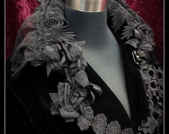 Stunning one of a kind silk blend velvet coat with SKULL back and venetian and swiss laces . Gothic,goth,Boho,gypsy SIZE L