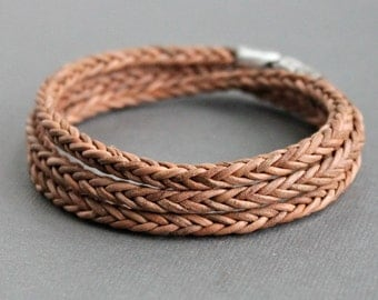 Mens Braided Wrap Bracelet, Tan Brown Leather, Sterling Silver Clasp