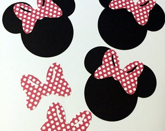 "5"" Minnie Mouse Head Silhouettes Black Cutouts with Bow Color Choice PINK OR RED Polka Dot Bows Not Attached Die Cut Paper"