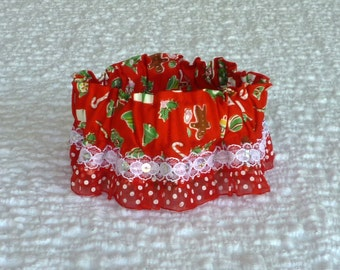 "Little Christmas Joys Dog Scrunchie Collar with dotted pleated ruffle - Size XS:  10"" to 12"" neck"