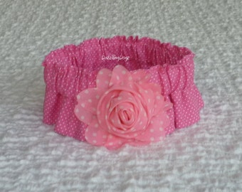 """Tiny Dots on Pink Dog Scrunchie Collar with dotted rose - M - 14"""" - 16"""" neck"""