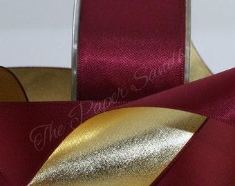 "Burgundy & Gold Ribbon, 1.5"" wide by the yard, Burgundy Satin Ribbon, Christmas Ribbon, Weddings, Sewing, Garlands, Wreaths, Party Supplies"