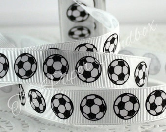 "Soccer Ball Ribbon, 3/4"" wide by the yard, Sports Ribbon, Soccer Ball Printed Ribbon, Gift Wrapping, Party Supplies, Party Invitations"