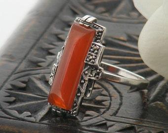 Vintage Ring | Art Deco Carnelian, Marcasite & Sterling Silver | Rectangle Fire Orange Carnelian Gemstone - US ring size 6, UK ring size M