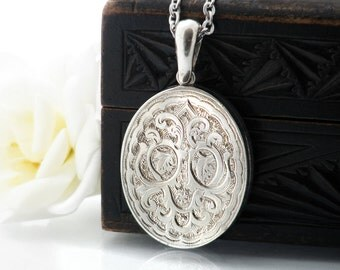 Antique Sterling Silver Locket | Victorian Locket | Hand Chased Silver | Large Oval Locket Necklace - 34 Inch Long Chain Included
