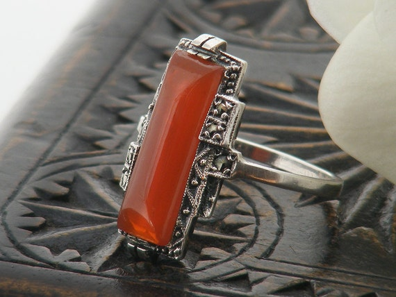 Vintage Ring | Art Deco Carnelian, Marcasite & Sterling Silver | Rectangle Fire Orange Carnelian Gemstone - US ring size 6, UK ring size M