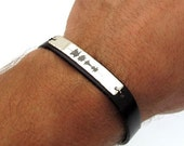 Sound Waves Bracelet - Mens Personalized Leather Bracelet - Personalized Mens Gift - Engraving Sterling Silver Voice recording Bracelet