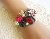 Red Vintage Style Assemblage Bracelet, Cuff Bracelet, Red Bracelet, Victorian Bracelet, Red Jewelry, One of a Kind, B-304