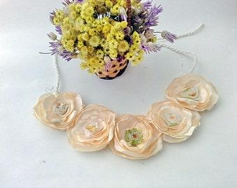 Peach flower necklace, Peach Pink Flower Bib Necklace - Statement Necklace,