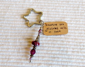 Hand Stamped Key Ring, Star Shaped Key Ring, Lampwork Key Fob, Needlework Fob, Stamped Metal Key Ring, Needlepoint Phrases
