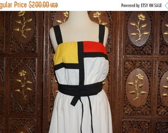 ON SALE 1980s Mondrian Color Block Cotton Sun Dress Sz M/L