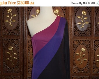 ON SALE 1970s Black Off Shoulder Color Block Evening Gown Sz 36