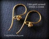 FIVE PAIRS Bali 24kt Gold Vermeil 4 Ball Ear Wires, 21mm x 10mm (10 pcs) - Artisan-made supplies, precious metals, earrings