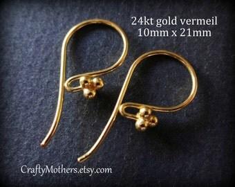 In Stock! 5 PAIR Bali 24kt Gold Vermeil 4 Ball Ear Wires, 21mm x 10mm (10 pcs) - Artisan-made supplies, precious metals, earrings