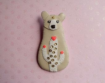 Cactus Bear brooch, bear brooch, bear jewelry, cactus jewelry - BEIGE