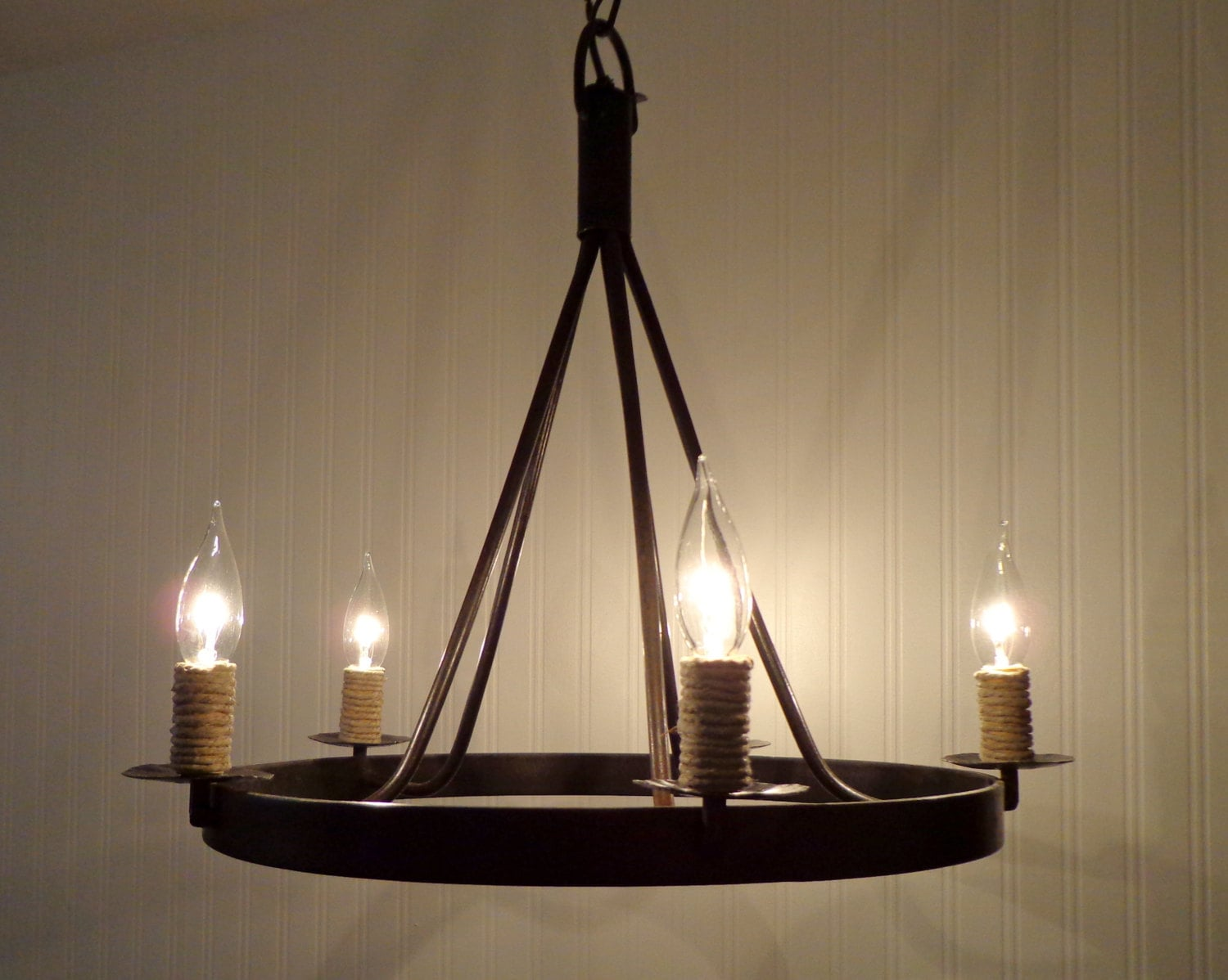 Hand Forged Iron CHANDELIER Light With Jute Wrapped
