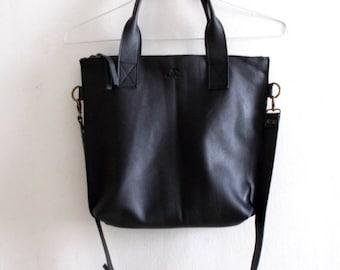 ON SALE Black leather tote - Handbag - Cross-body bag - Every day bag - Women bag - Shoulder leather bag