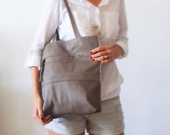 Taupe Leather tote bag - Shoulder Bag -Every day leather bag - Women bag
