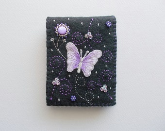 Needle Book Black Felt Needle Keeper with Butterfly Sequin Flowers Bead Embroidery Swirls and Dots Handsewn