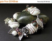 VALENTINE SALE Purple Roses Charm Bracelet in Lampwork Glass and Silver Rose Charms. Handmade Jewelry by Gilliauna