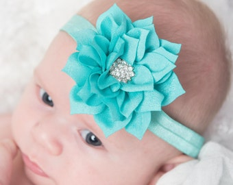 teal lotus flower headband, white elastic headband, baby headband, toddler headband, girl headband, girl birthday gift, newborn headband