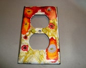 LIGHT SWITCH PLATE Cover - Whimsical Posies Hand Painted Electrical Outlet Cover