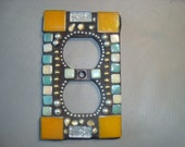 MOSAIC Electrical Outlet Cover,  Plug, Wall Plate, Yellow, Gold, Green, Light Peach, Gold
