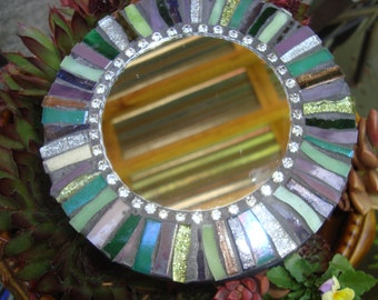 MOSAIC MIRROR, Accent Mirror, Small Round Mirror, Wall Art, Wall Hanging, Multicolored