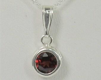 Garnet 6mm 1.15ct Backset Bezel Sterling Silver Gemstone Necklace Natural Untreated.
