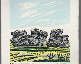 The Roaches Rocks original mono and linocut print