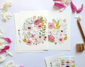 Thank you cards, floral thank you cards, flowers cards, birthdays thank you cards, floral illustration, greetings cards,