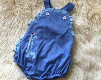 "Vintage 1960s Baby Size 12M Romper by Thomas / length 17"" / Ruffled Saddle Chambray with Giraffe Applique, Needs Minor Mending"