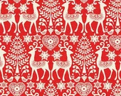 Scandi 3 Christmas Holiday Nordic Design Makower UK Fabric Reindeer Hearts Trees and Snowflakes on Red