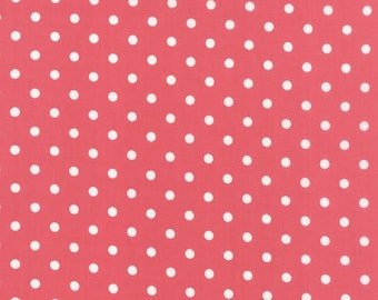 Prairie Fabric by MODA White Polka Dots Dot on Pink