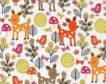 Acorn Forest Fabric by Robert Kaufman SWEET Forest Animals Cute Deer Birds and Butterflies