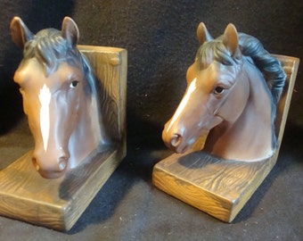 Vintage Ceramic / Pottery Horse Bookends