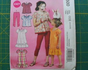 McCall's 6500 Girls Tops Dresses and Leggings Sizes 3-6 sewing pattern