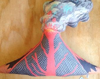 LAST ONE - Organic Hemp Cushion - Erupting Volcano No.16