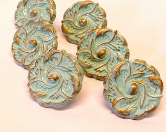 Set of 6 Knobs Drawer Pulls Aqua Blue Distressed Shabby 1-1/2""
