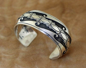 Navajo Silver Bracelet Overlaid Cuff