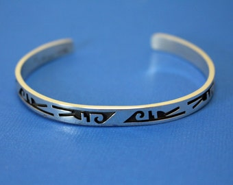 Silver Cuff Bracelet Hopi Abstract