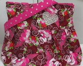 Tattoo Hearts and Wings Pleated Shoulder Bag , Hot Pink True Love Hearts Tote bag, Rocker Rhinestone heart Purse Ready To Ship