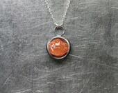 RESERVED Rough Fire Opal Circle Necklace Black Oxidized Silver Raw Mexican Orange Opal Pendant Unique Modern Primitive Design - Ring of Fire